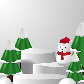 Esposizione del prodotto del podio del piedistallo vuoto per natale o inverno con pupazzo di neve, pino e colore di sfondo bianco