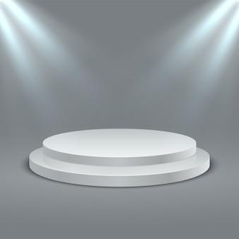 Scena del podio del palco vuoto con illuminazione