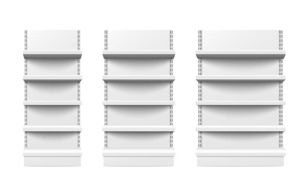 Scaffali vuoti di vendita al dettaglio del supporto tre pezzi di diverse dimensioni isolati.