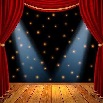 Vuoto palcoscenico teatrale con tende rosse tende