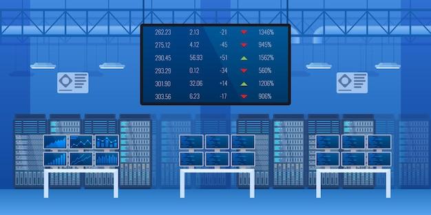 Interno vuoto del mercato di scambio commerciale centro finanziario moderno con controllo statistico di valuta della scheda elettronica. attrezzature per indicatori di investimento finanziario, monitoraggio dei profitti e dei prezzi vettore dei cartoni animati