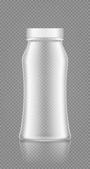 Mockup di bottiglia trasparente vuota per yogurt, latte, succo di frutta, acqua o shampoo