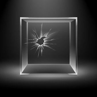 Cubo di scatola di vetro vuoto trasparente rotto crack isolato su sfondo nero scuro con retroilluminazione