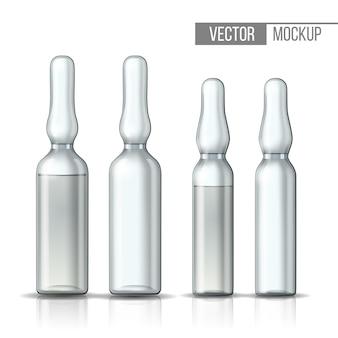 Fiala di vetro trasparente vuota e fiala con vaccino o farmaco per cure mediche. mock-up 3d realistico della fiala con medicamento per iniezione. modello vuoto della fiala. illustrazione