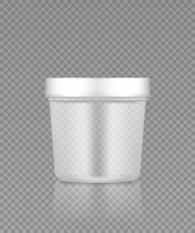 Modello di secchio di plastica trasparente vuoto per gelato, burro o yogurt