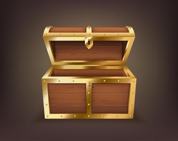 Scrigno vuoto, scatola di legno realistica, scrigno aperto isolato. vecchio baule per oro o gioielli
