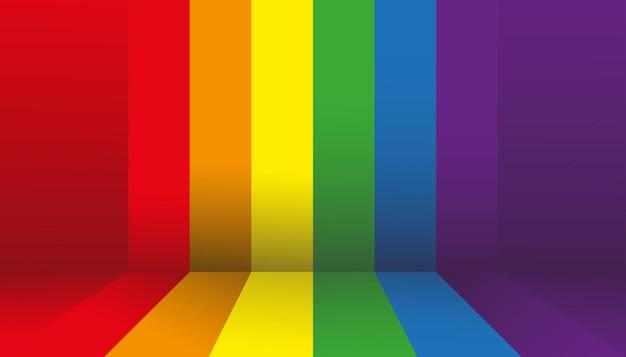 Stanza vuota dello studio della parete con il backgroud della bandiera lgbt dell'orgoglio arcobaleno, sfondo del mockup del segno di progettazione grafica dell'illustrazione vettoriale per lesbiche, gay, bisessuali e transgender.