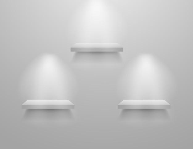 Scaffali bianchi vuoti negozio museo display mockup realistico interno moderno scaffale