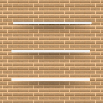 Scaffale bianco vuoto, scaffali di vendita al dettaglio dalla struttura del compensato