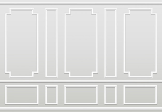 Vuoto muro bianco. pannelli modanatura decorazione domestica classica. interiore di vettore di soggiorno
