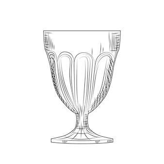 Schizzo di bicchiere di vino vuoto. stile di incisione. illustrazione vettoriale isolato su sfondo bianco.
