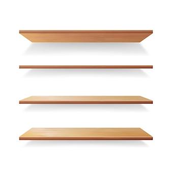 Scaffali di legno vuoti