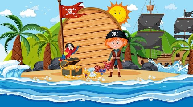 Modello di banner in legno vuoto con bambini pirata sulla scena diurna della spiaggia