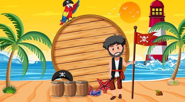 Modello di banner in legno vuoto con pirata sulla scena del tramonto sulla spiaggia