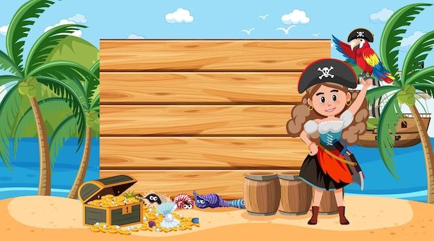 Modello di banner in legno vuoto con donna pirata sulla scena diurna della spiaggia