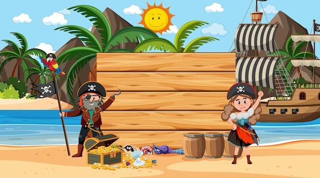 Modello di banner in legno vuoto con pirati sulla scena diurna della spiaggia