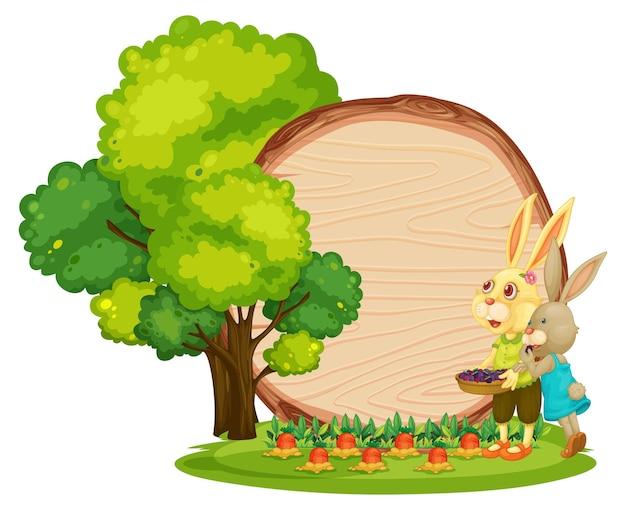 Tavola di legno vuota in giardino con due conigli isolati su sfondo bianco