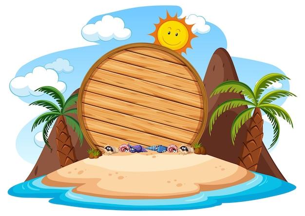 Tavola di legno vuota sull'isola con molte palme isolate