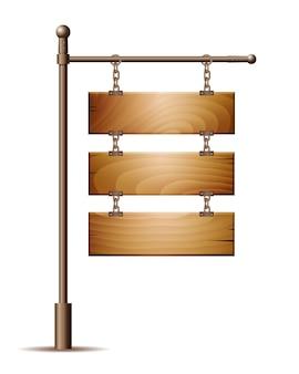 Segno vuoto del bordo di legno che appende su una catena isolata su bianco. illustrazione vettoriale Vettore Premium