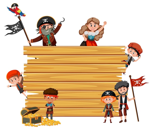 Tavola di legno vuota con molti personaggi dei cartoni animati di bambini pirati