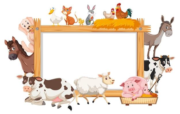 Cornice di legno vuota con vari animali da fattoria Vettore Premium