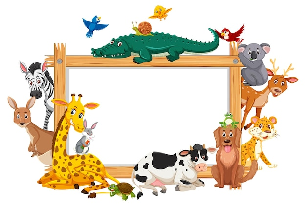 Cornice di legno vuota con vari animali selvatici