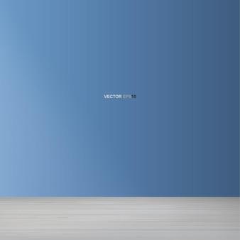 Fondo di legno vuoto dello spazio della stanza. con motivo prospettico pavimento in legno e sfondo blu della parete. illustrazione vettoriale.