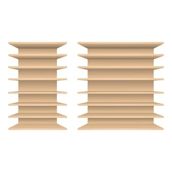 Scaffali in legno vuoti isolati su sfondo bianco, illustrazione vettoriale