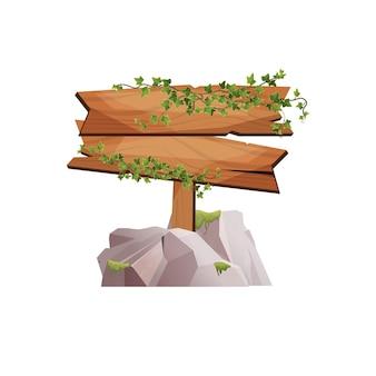 Cartello in legno vuoto con rami di edera e in piedi su pietre come striscione per un gioco