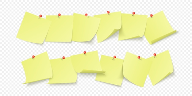 Adesivi gialli vuoti con spazio per testo o messaggio attaccati da clip al muro. isolato su sfondo trasparente