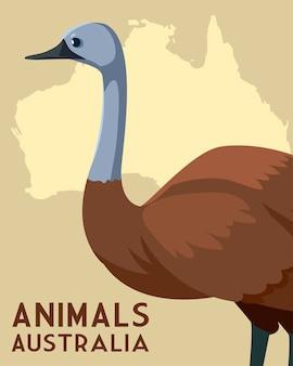 Emu continente australiano mappa animale illustrazione della fauna selvatica
