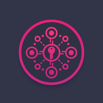 Crittografia, protezione dei dati, icona del vettore di sicurezza dell'accesso