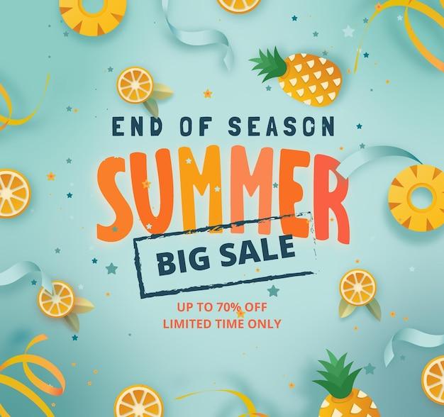 Grande offerta estiva di fine stagione con ananas e concetto di frutta al limone