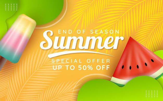 Modello di banner saldi estivi di fine stagione season