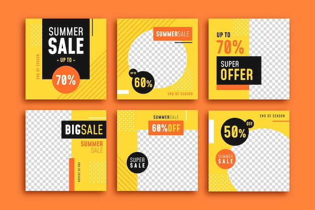 Collezione di post instagram di vendita estiva di fine stagione
