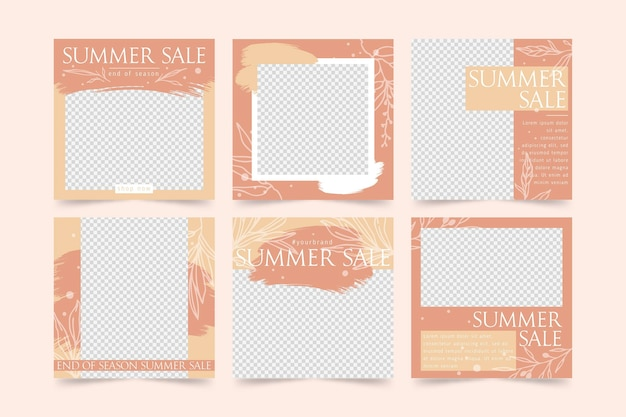 Raccolta di post instagram di vendita estiva di fine stagione