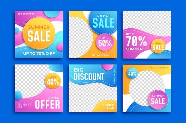 Post di instagram di vendita estiva di fine stagione