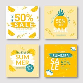 Raccolta post modello di instagram di vendita estiva di fine stagione