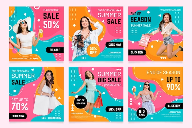 Post di instragram di vendita estiva di fine stagione