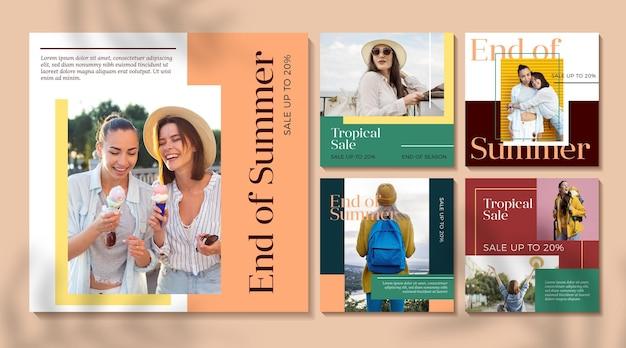 Raccolta di post intagram di vendita estiva di fine stagione