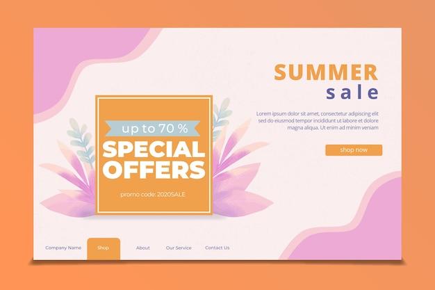 Modello di pagina web di vendita di fine estate