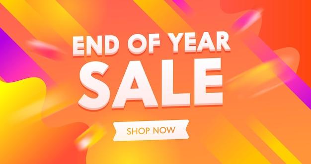 Banner pubblicitario di vendita di fine anno con tipografia sull'arancio colorato