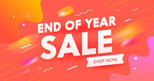 Banner di vendita di fine anno, pubblicità di marketing sui social media digitali.