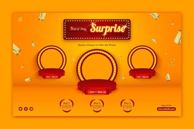 Modello di banner orizzontale di invito al concorso a sorpresa di fine anno con spruzzi d'oro