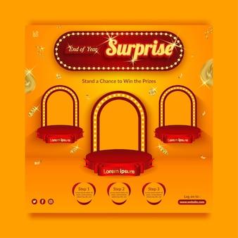 Modello di banner per social media con invito al concorso a sorpresa di fine anno con spruzzi d'oro