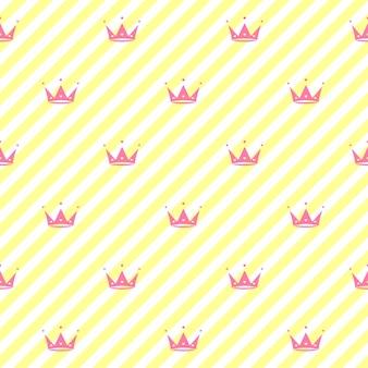 Sfondo infinito con corone cuori diademi strisce carino romantico rosa vettoriale sfondo lol sorpresa stile decor per bambini compleanno ragazze festa confezione regalo sfondo rosa vettoriale