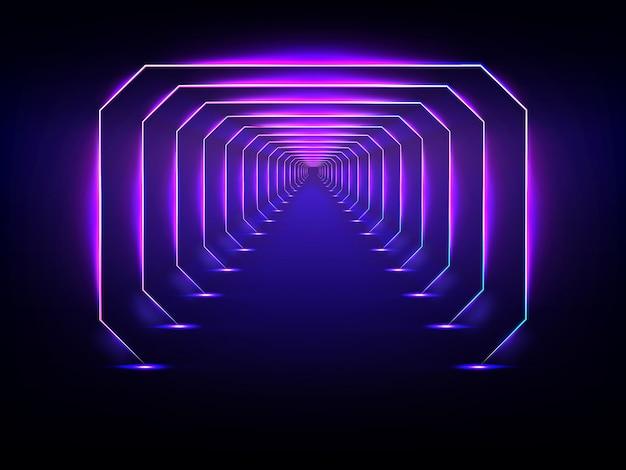 Vettore di illuminazione al neon incandescente del tunnel futuristico senza fine