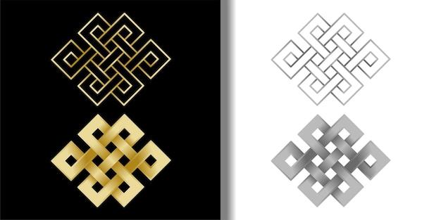 Set di simboli endless knots per stampe tessili e t-shirt simboli del buddismo