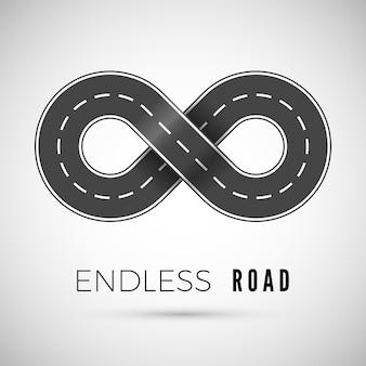 Infinita strada realistica a forma di segno di infinito.