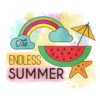 L'estate senza fine. manifesto estivo ad acquerello